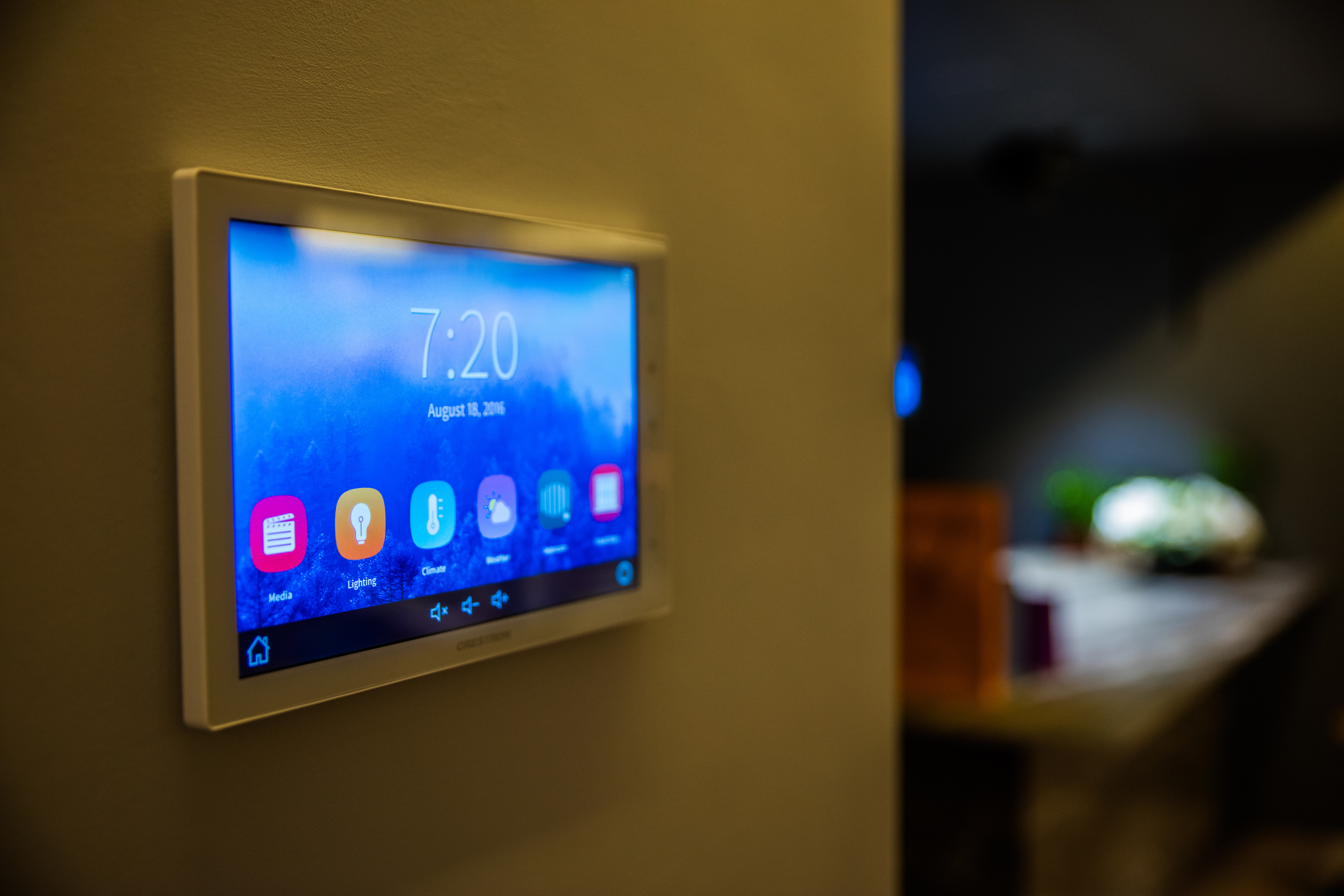 Crestron on-wall touchscreen as a representation of on-wall touchscreens